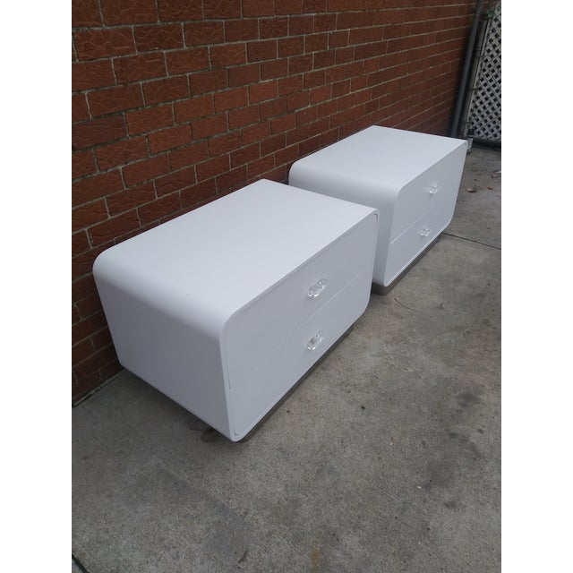 White 1970s Vintage Space Age Karl Springer Style Nightstands-a Pair For Sale - Image 8 of 13