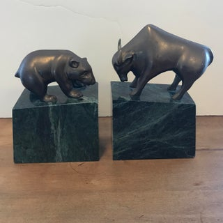 Vintage Gatco Brass on Granite Bull and Bear Bookends - a Pair Preview