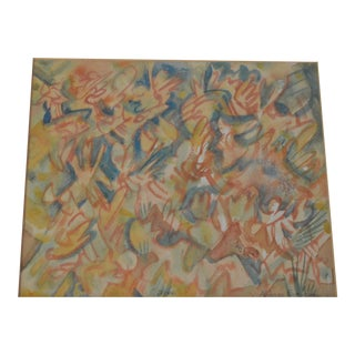 "Aldous Eveleigh ""Jive"" Framed and Signed Mid Century Modern Abstract Watercolor For Sale"