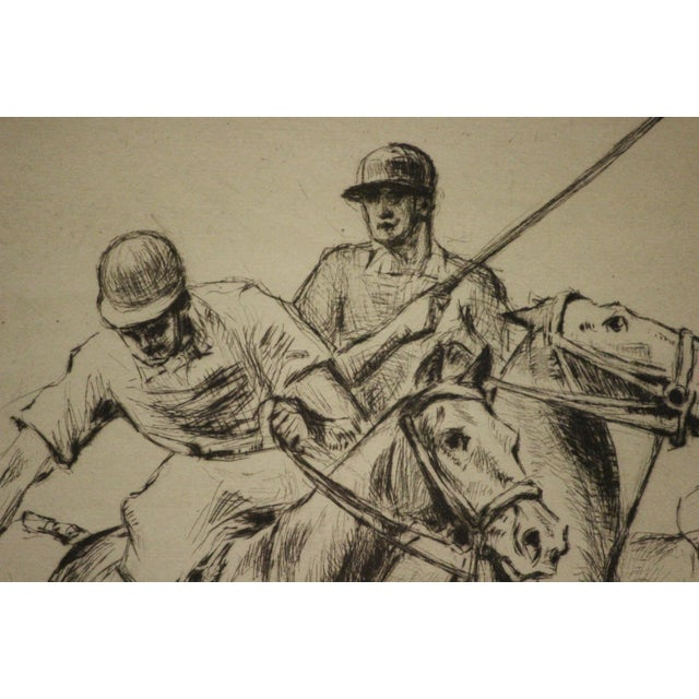 Traditional Four Polo Players Etching by Nat Lowell (1880-1956) For Sale - Image 3 of 8