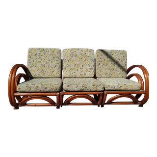 Mid-Century Bentwood Rattan & Bamboo Sofa For Sale