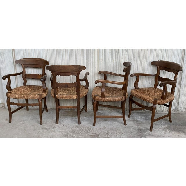 Country 19th Century Set of Six Armchairs With Straw Seat. Dining Room Chairs For Sale - Image 3 of 13