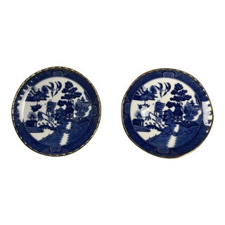 Antique Blue Willow Pattern Bone Miniature Saucers Wren England - a Pair For Sale
