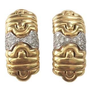 Elegant 18k Gold Diamond Hermes Style Clip Back Earrings For Sale