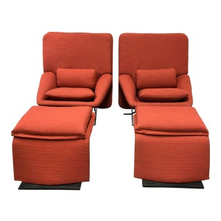 Pair of Vittorio Introini Reclining Lounge Chairs + Ottomans for Saporiti Italia For Sale