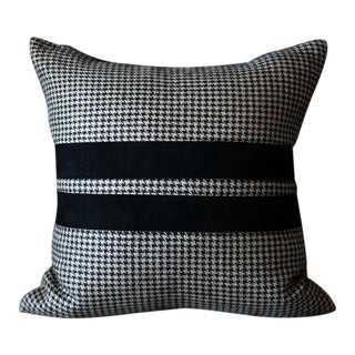 Suede Houndstooth Pillow Cover For Sale