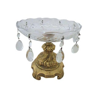 European Style Brass & Crystal Bowl