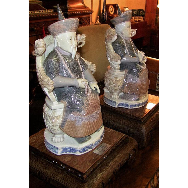 Lladro Retired Figurines of Chinese Nobleman and Noblewoman - Very Rare- A Pair For Sale - Image 11 of 12