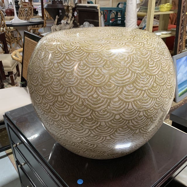 Transitional Robert Kuo Cloisonné Drum Low Stool For Sale - Image 3 of 9