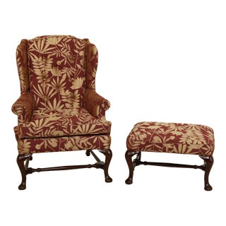 Sherrill Queen Anne Mahogany Wing Chair & Matching Ottoman For Sale