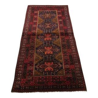 1940s Vintage Afghani Baluch Runner Rug - 3′6″ × 7′6″ For Sale