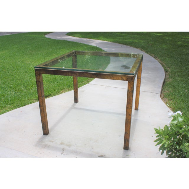 Vintage Modernist Gilt Metal Parsons Table with Thick Glass Top - Image 3 of 10