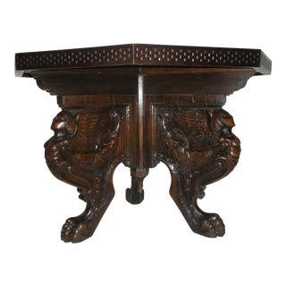Vintage Renaissance Revival Hexagonal Table For Sale