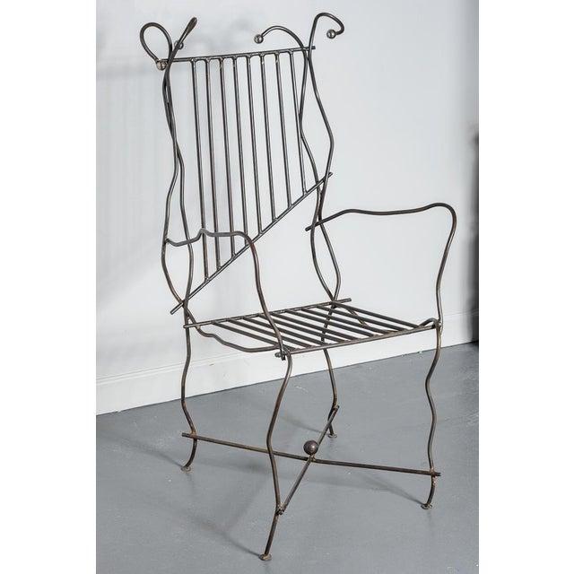 Italian Italian Hand Made Modern Metal Chair Rare For Sale - Image 3 of 13