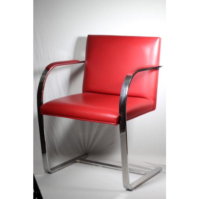 Red Leather Brno Flat Bar Armchair by Gordon International - Image 2 of 7