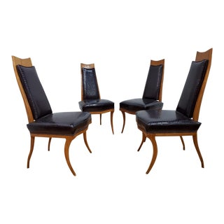 Kilsmos Style for Bethlehem Furniture Company High Back Sabre Legged Dining Chairs - Set of 4 For Sale