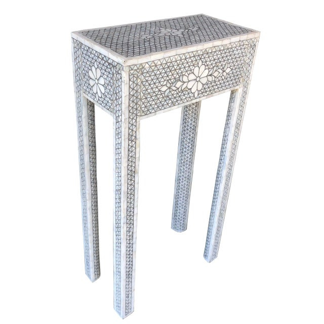 White Mother of Pearl Inlay Contemporary Side Table For Sale - Image 8 of 8