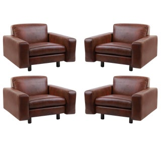 1970s Mid-Century Modern Leather and Bronze Lounge Chairs - Set of 4 For Sale