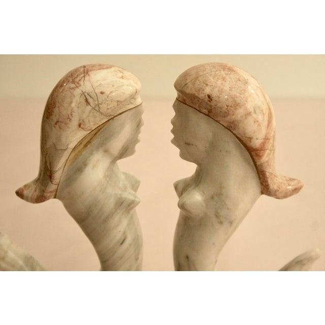 Surrealist Carved Marble Mermaid Sculpture - Image 3 of 7