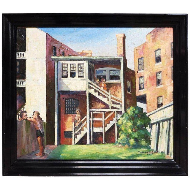 Blue Original American Urban Scene Oil Painting by Thaddeus J. Haduch, 1947 For Sale - Image 8 of 8