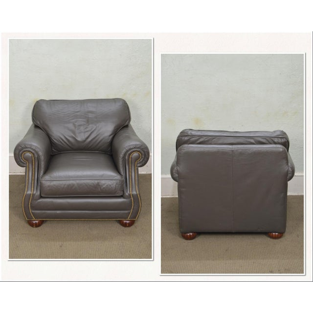 Traditional Quality Leather Club Chair W/ Ottoman For Sale - Image 3 of 12