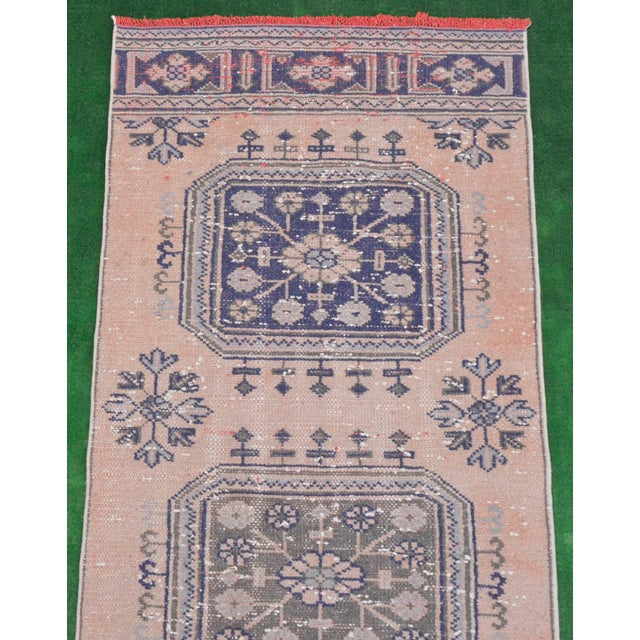 """Distressed - Faded Oushak Rug Runner Stunning Kitchen Decor - 2'11"""" x 11'7"""" For Sale - Image 6 of 10"""