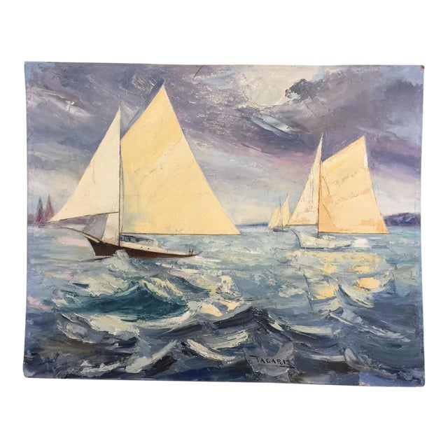 Fabulous Signed Oil on Canvas Board Seascape With Sailboats - #3 - Image 1 of 4