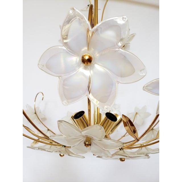 Metal Mid Century Italian Murano Glass Chandelier For Sale - Image 7 of 12