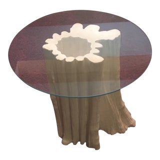 "1970s Faux Bois Plaster & Glass ""Tree Trunk"" Sculptural Side Table For Sale"