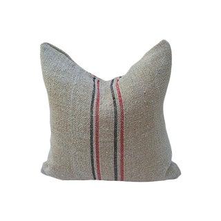 Striped Linen Grain Sack Bag Pillow For Sale