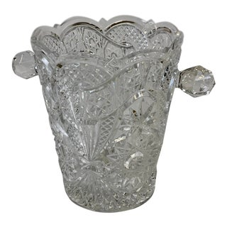 Vintage Bohemia Cut Crystal Ice Bucket / Champagne Chiller For Sale