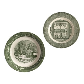 Mid-Century Traditional Style Green & White Plate/Bowl Set For Sale