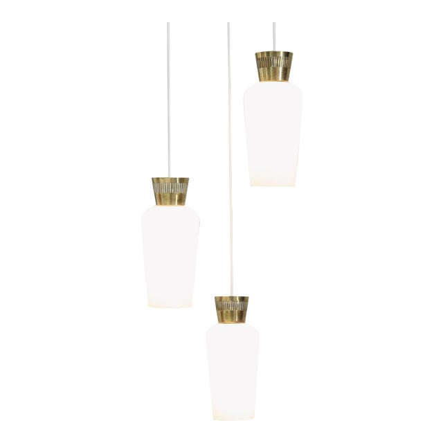 Three-Arm Finish Chandelier with Opaline Glass Shades, Manner of Tynell, 1950s For Sale