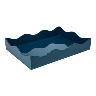 Rita Konig for The Lacquer Company Belles Rives Tray in Marine Blue, Medium For Sale