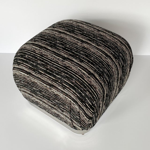 Mid-Century Modern Karl Springer Style Chrome Souffle Pouf Ottomans - a Pair For Sale - Image 3 of 13