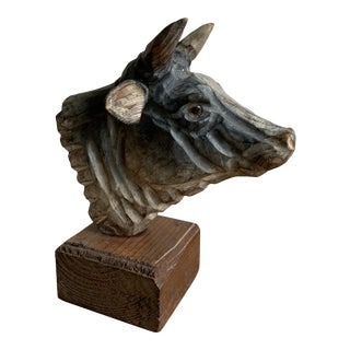 Folk Art Hand Carved and Painted Wood Bull Head Sculpture For Sale
