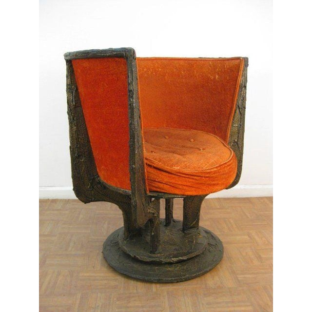"""Set of four Paul Evans chairs. Frames has a Brutalist, sculpted bronze pattern. Stamped """"PE"""" on bottom."""