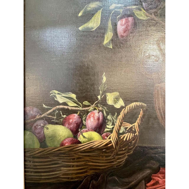 """Frank Arcuri, Still Life Oil on Canvas. Framed. """"Small Feast With Figs"""" 1999 For Sale - Image 4 of 13"""