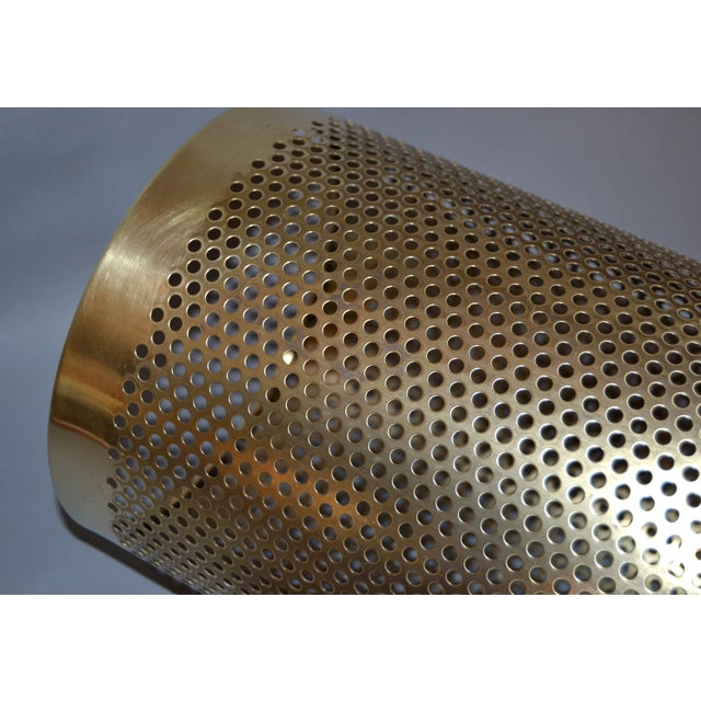 Vintage Italian Frontgate Brass Perforated Trash Waste Basket For Sale In Miami - Image 6 of 13