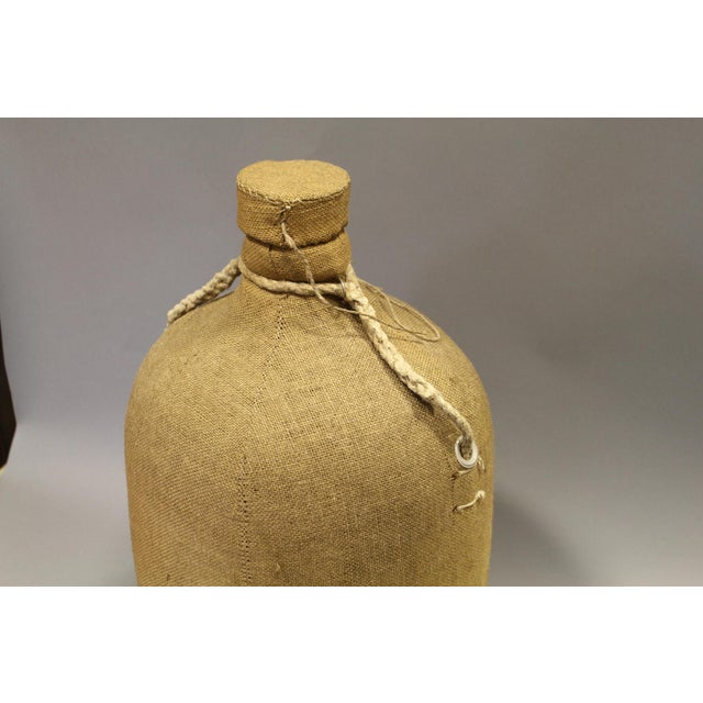 French Large French Glass Bottle and Cork Lid With Original Cloth Covering For Sale - Image 3 of 5