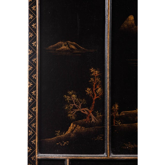 Japanese Large Four-Panel Landscape Scenes With Individual Raised Frames Screen/Room Divider 6 Ft W X 6.5 Ft H by Lawrence & Scott For Sale - Image 9 of 12