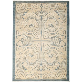 "Shalimar, Hand Knotted Art Nouveau Ivory Wool Area Rug - 6' 1"" X 8' 7"" For Sale"