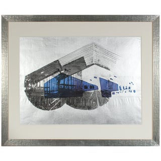 """Barbara Lewis 1970's """"Libson Station"""" Graphic Serigraph on Silver Paper Circa 1972 For Sale"""