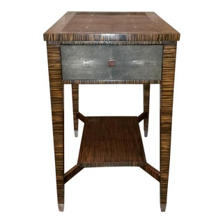 Jonathan Charles Faux Macassar Ebony & Anthracite Shagreen Side Table For Sale