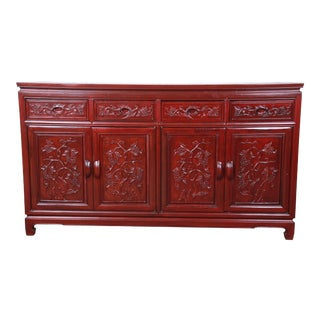 Vintage Chinese Carved Rosewood Sideboard Credenza For Sale