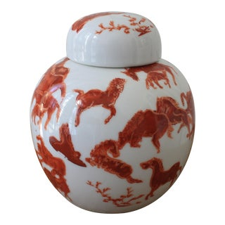 Asian Orange and White Ginger Jar