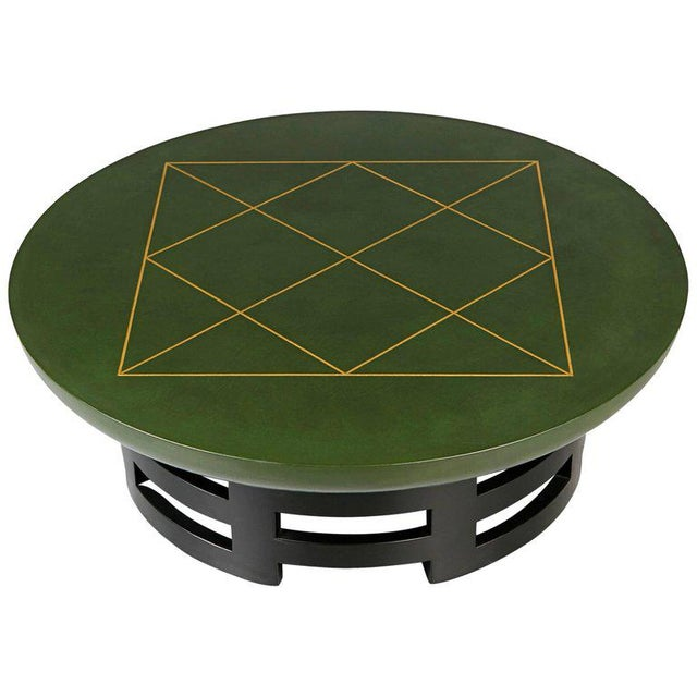 Leather Coffee Table With Gold Detail by Muller & Berringer for Kittinger For Sale - Image 10 of 10