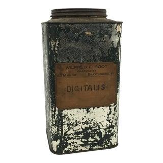 Antique Pharmacist Digitalis Tin From Brattleboro, Vermont