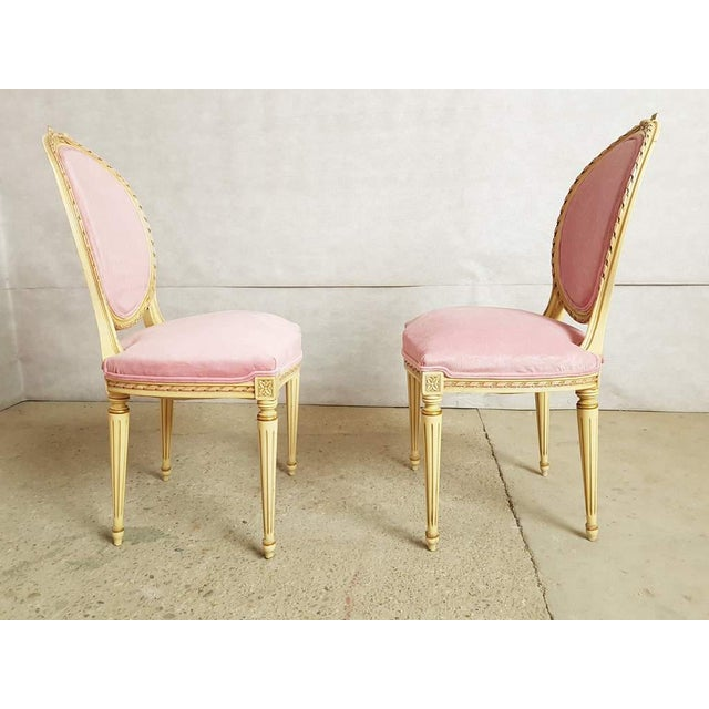 Set of 6 Antique French Louis XVI Restored in Pink Dining Chairs 2 Armchairs 4 Side Chairs For Sale - Image 12 of 13