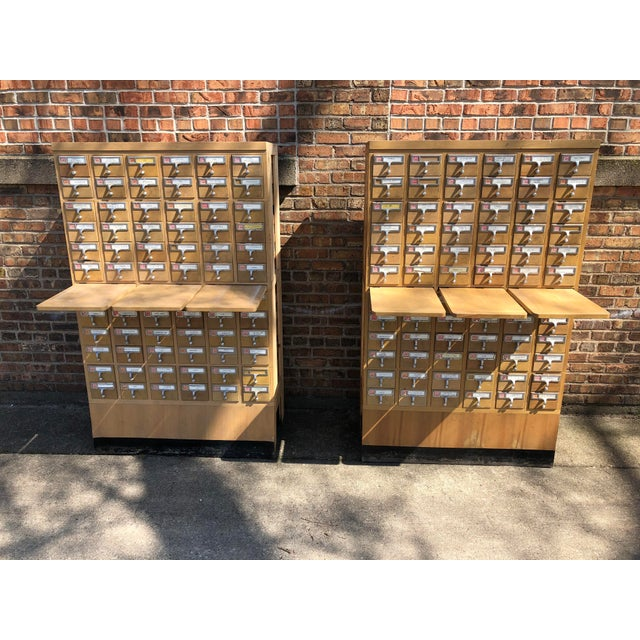 Mid 20th Century Mid-Century 72-Drawer Library Card Catalogs For Sale - Image 5 of 12